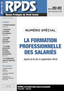 RPDS 892-893 - La formation professionnelle des salariés