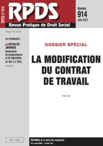 RPDS 914 - La modification du contrat de travail
